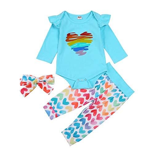 Conjunto de ropa para niña recién nacida y camiseta de manga larga con pantalón acampanado, 2 piezas, Rainbow Love-green, 6-12 Meses