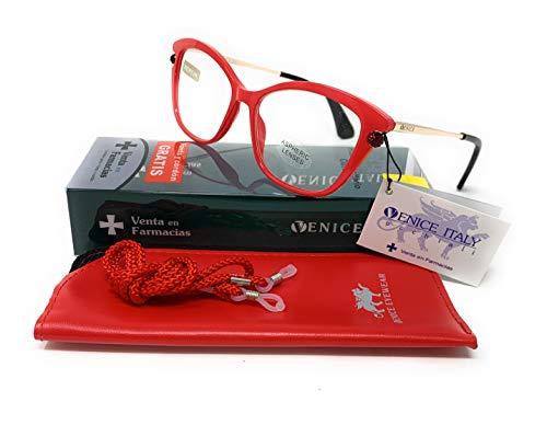 Neues Modell Lesebrille, Presbyopie, Überanstrengung der Augen, 5-Farben-Design. VENICE Premium Perl (Rot, 1.00)