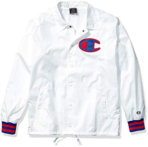 Champion LIFE Men's Satin Coaches Jacket with Ribbed Cuffs, White w/Twill c Logo, Large