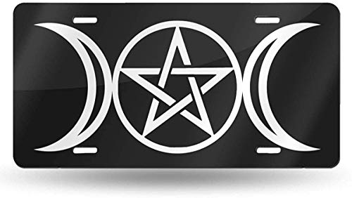 JINANZ Motor&cycle Bike Triple Moon Pentacle Pagan License Plate Metal Aluminum Vanity Auto Car Tag for Decoration 6x12 Inchs