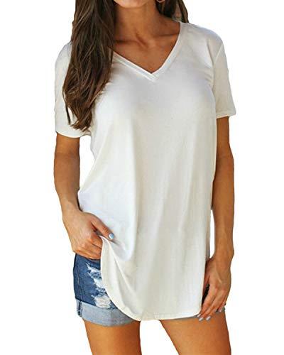 Yidarton Damen Sommer T-Shirt Basic Kurzarm Tops V-Ausschnitt Lockere Oberteile Solide Casual Shirts, Weiß, L