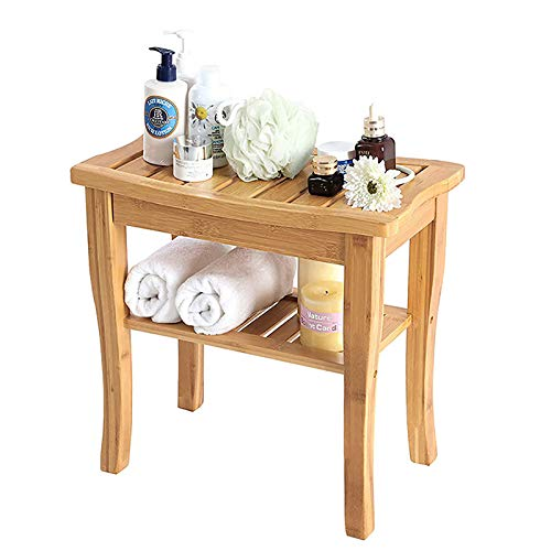 FASZFSAF Natural Bamboo Bench Bathroom Stool, Wooden Toilet Stool Shower Chair, can Storage Shampoo and Towel, Used for Bathroom/Living Room/Bedroom/Garden