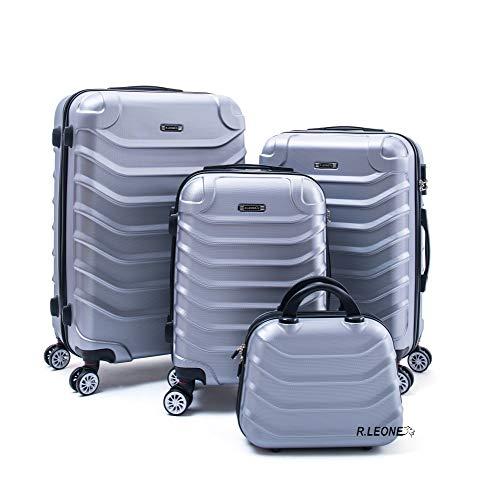 R.Leone Valigia Fino a Set 4 Trolley Rigido grande, medio, bagaglio a mano e beauty case 4 ruote in ABS 2026 (Argento, Set 4 XS X M L)