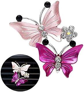 Auto Aromatherapie Lüftungs Clips, hübscher dualer Schmetterlings Auto Lufterfrischer, Parfüm Clip, Aroma Diffusor, Dekoration – Rosa.