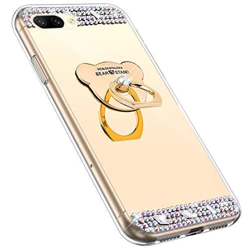 MoreChioce kompatibel mit Huawei Honor 10 Hülle,kompatibel mit Huawei Honor 10 Handyhülle, Bling Glitzer Spiegel Silikon Diamant Schutzhülle Bumper mit Ring Ständer,Rosa Bär