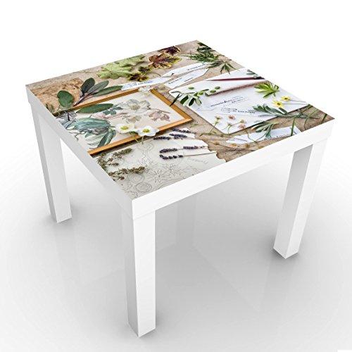 Bilderwelten Mesa de diseño - Flowers and Garden Herbs Vintage - 55x55x45cm, Mesa Auxiliar mesilla de Noche mesita, Tabla de Colores: Vector Blanco, Tamaño: 55 x 55 x 45cm