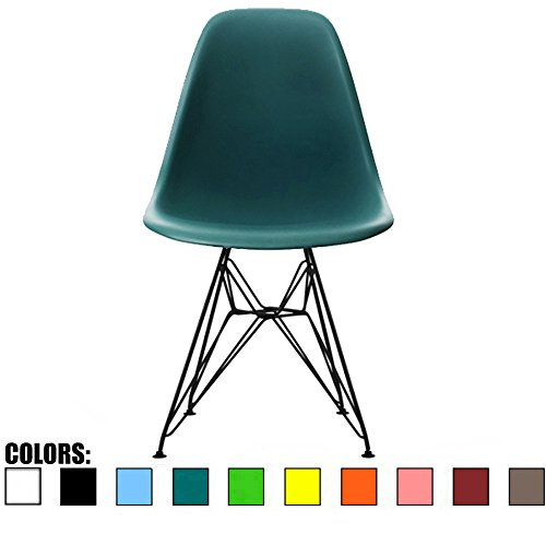 2xhome Teal - Plastic Side Chair Black Eiffel Base Dining Room Chair - Lounge Chair No Arm Arms Armless Less Chairs Seats Black Wire Legs