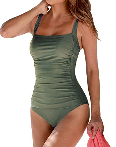Upopby Women's Vintage Padded Push up One Piece Swimsuits Tummy Control Bathing Suits Plus Size Swimwear Olive Green 12
