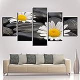 YXBNB 5 Pinturas consecutivas 5 Piezas de Flores de Piedra HD Imprimir Lienzo Pintura para Sala de...