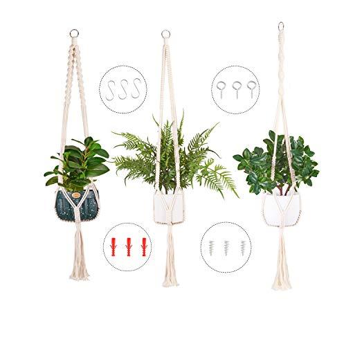 Macrame Plant Hangers, Set of 3 Hanging Planter, Handmade Hanging Plant Holder - 43'' Decorative Flower Pot Holder for Indoor Outdoor Home Decor, Ivory ( not Included pots)