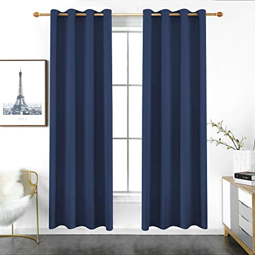 YURIHOME Navy Blue Blackout Curtains Grommet Room Darkening/Light Blocking Thermal Insulated Curtains Farmhouse Kitchen Window Curtain & Drape 2 Panels for Living Room/Bedroom 96 inches Long/Length