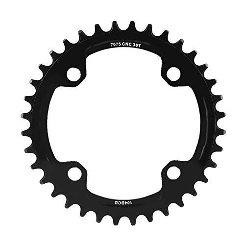 Plato único, 32/34/36/38T BCD 104 Piezas de reparación de anillo de cadena de manivela única de acero para bicicleta de montaña para bicicleta de carretera, bicicleta de montaña, BMX(Negro 36T)