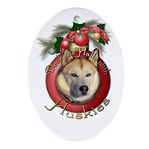 Tiukiu Ceramic Ornament for Christmas Tree Decor, Christmas - Deck The Halls - Huskies Keepsake (OVA