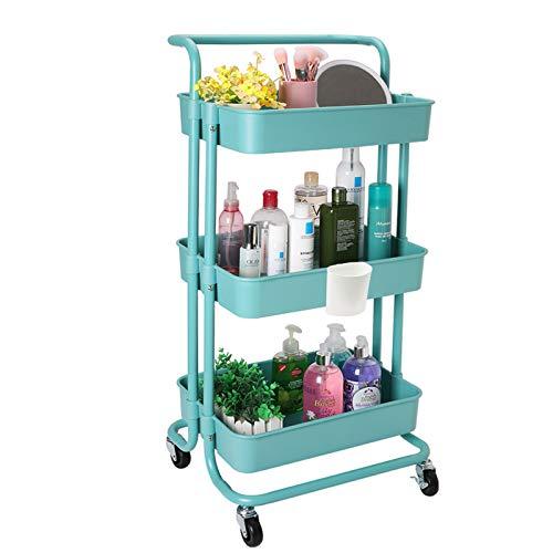Jakago Carrito de cocina con ruedas, 3 niveles, cesta de almacenamiento de capacidad de 150 libras con 2 estantes de rueda con cerradura para el hogar, oficina, cocina, baño, salón de belleza