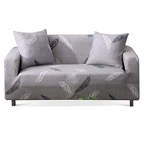 Stretch Sofa Slipcover Fitted Furniture Protector Print Sofa Cover Stylish Couch Cover with 2 Pillow Cases for Loveseats/Sofas/Sectional Couches,Feather