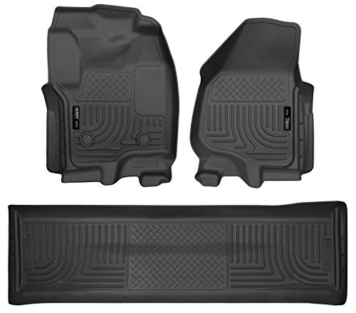 Husky Liners 99711 Black Weatherbeater Front & 2nd Seat Floor Liners Fits 2012-2016 Ford F-250/F-350 Super Duty Crew Cab WITH Carpet and drivers side foot rest