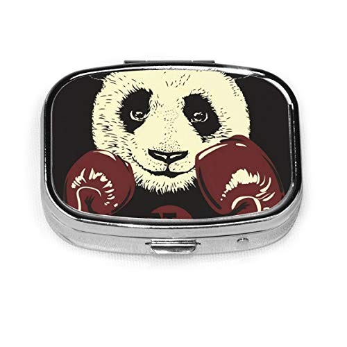 NA Panda in Boxing Gloves Hand Drawn Medicine Box is Suitable for Pocket Wallet Travel Etc