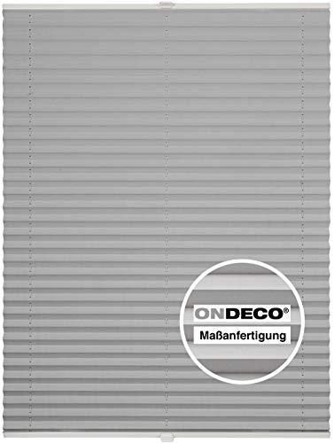 Plissee auf Maß für alle Fenster Montage Glasleiste Blickdicht mit Spannschuh Sonnenschutzrollo Silber B: 51-60 cm, H: 40-100 cm