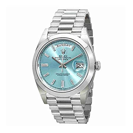 Fashion Shopping Rolex Oyster Perpetual Day-Date Ice Blue Baguette Dial Platinum President Automatic Mens Watch 228206IBLDP