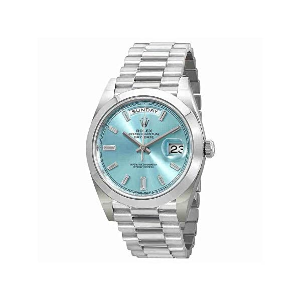 Fashion Shopping Rolex Oyster Perpetual Day-Date Ice Blue Baguette Dial Platinum President Automatic