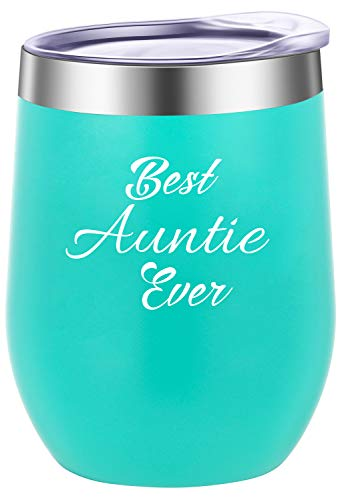 Pufuny Best Auntie Ever Stainless Steel Wine Tumbler with Lid,Insulated Stemless Wine Glass,Mug,Perfect Auntie Gifts for Birthday,Christmas,12 oz Mint Green