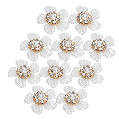 Asixxsix Botón con Forma de Flor, botón con Forma de Flor de Bricolaje, 10 Piezas Elegantes y Atractivas para Fiestas de Mujeres, Herramientas de(Small Rhinestone Pearl Flower)