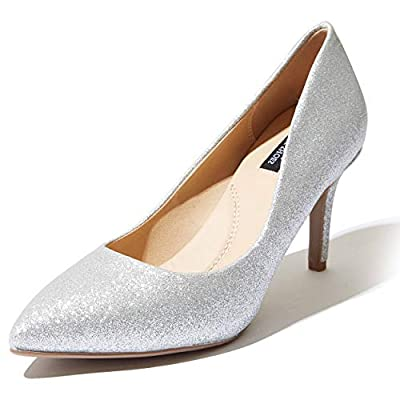 DailyShoes Women's Comfortable Elegant high Cushioned Office Low Heels Pointy Close Toe Stiletto Pumps Shoes