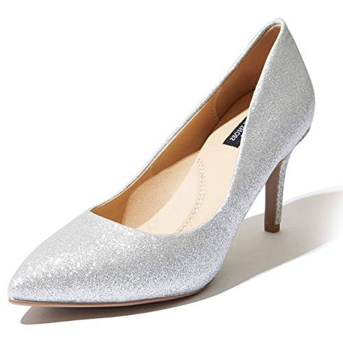 Low High Heel Shoes for Women High Heels Pumps Pointy Toe Casual Wide Fashion Summer Shoes Comfort Slip On Lightweight Shoe Stiletto Crystal-02 Silver Gl 8.5