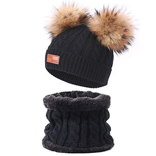 Niedliche Kinder Strickmütze Schal Anzug Outdoor Casual Peas Jungen/Mädchen Pompon Hut Echte Pelz Solid Twist Hut Winter Warm 2-teiliges Set Geeignet Für 1-6 Jahre Alt (9)