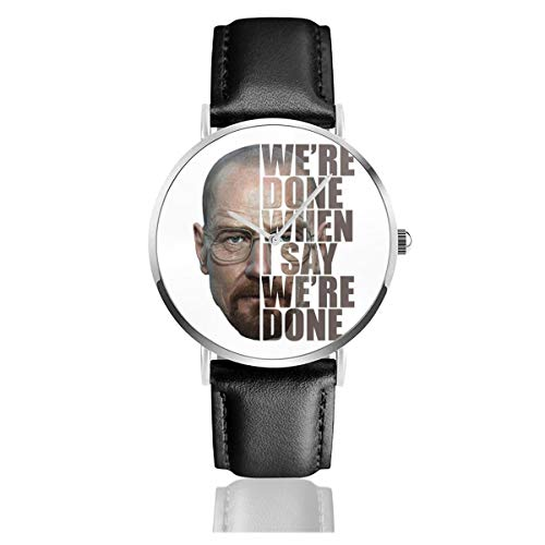 Unisex Business Casual Breaking Bad Heisenberg Halbkopf Text Uhren Quarz Leder Uhr mit schwarzem Lederband für Männer Frauen Junge Kollektion Geschenk