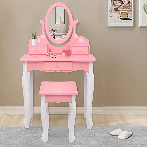 JOYMOR Kids Vanity Set with 3 Drawers and Real Mirror, Princess Vanity Table and Chair Set, Makeup Dressing Table with Rotatable Mirror for Girls (Pink)