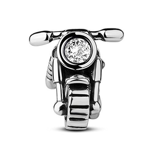 TinySand Ciondolo moto in argento sterling 925, compatibile con tutti i braccialetti europei