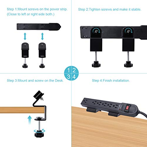 LANMU Power Strip Clamp Mount, Removable Desk Edge Mount Holder Compatible with AmazonBasics, Belkin and Other Mountable Power Strips (Fits for Desk Edge Less Than 1.77 in )