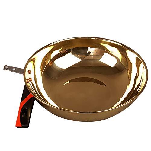 Wok in ottone puro extra spesso, per uso domestico, wok antiaderente speciale per wok in ottone con riempimento in rame, 32 cm (induzione, spessore 1,2 mm)