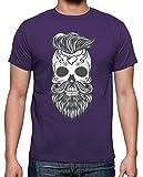 latostadora - Camiseta Hipster Sugar Skull 2 para Hombre Morado L