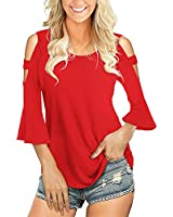 Florboom Womens Summer Casual Tops Cold Shoulder Hollow Out Blouse T Shirts Red S