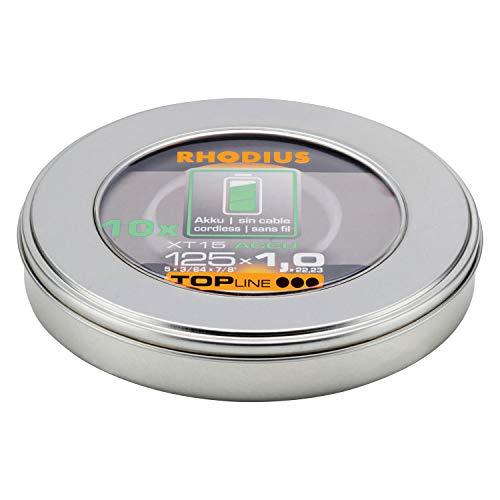 RHODIUS extra dünne INOX AKKU-Trennscheiben Metall XT15 ACCU BOX Made in Germany Ø 125 mm für Winkelschleifer Metalltrennscheibe 10 Stück