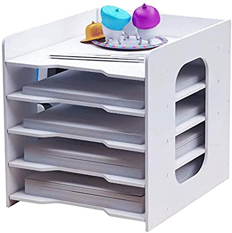 12 Inch in Height 5-Tier Desktop Wood File Organizer Paper Sorter Shelves Freestanding A4 Size Document Letter Mail Tray Magazine Holder Storage Cabinet for Home Office