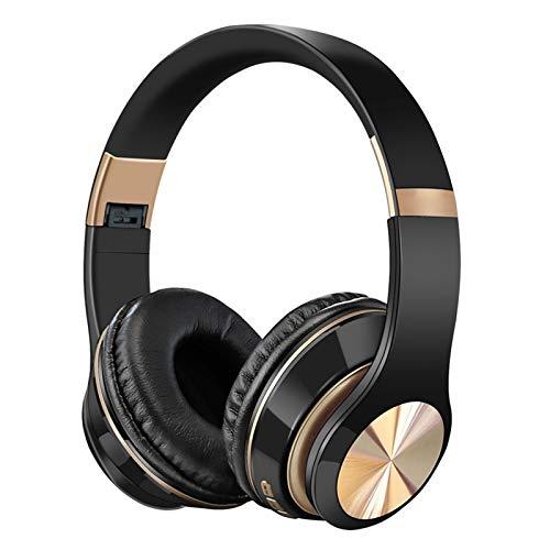 HCHL USB Faltbares Ohrhörer, Kopfhörer Wireless Noise Cancelling, Bluetooth Headphones Gaming Wireless, Headset Mit 3D-Stereo (Color : Black Color)