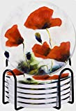 CIKYOWAY Posavasos para Bebidas,Flor Verde Florecimiento de capullos de Amapola Dibujado por Abstracto Rojo Naturaleza Blanco Primer Plano Color Diseño Poppie Juego de 6 Posavasos para Casa