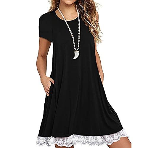 LOPILY Damen Übergröße Kleider Rundkragen Sommerkleider Knielang Kleid Kurzarm Kleid Gepunkteter Kleider Lose Casual Kleider mit Spitze Rand
