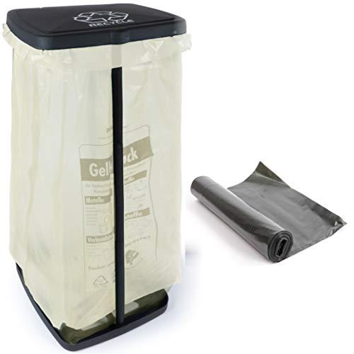 Hinrichs Müllsackständer 120L - Höhenverstellbarer Müllbeutelhalter mit Deckel und Klemmring - Ständer Gelber Sack - Gratis 2 Schwarze Müllsäcke 120L
