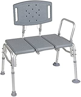 HEALTHLINE Transfer Bench Adjustable Height, Heavy Duty Bariatric Tub Transfer Bench with Back, Non-Slip Seat, Bath Shower Bench Chair Fits Any Bathroom for Elderly, Disabled, 500 lbs Capacity, Gray