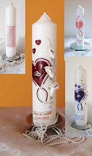 Hochzeitskerze-Traukerze-Jubiläumskerze mit 3D Callas ink.Namen,Datum modern