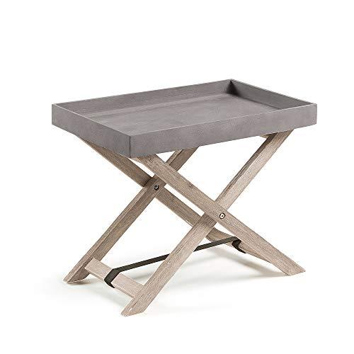 Kave Home - Table d'appoint Pliable Merida rectangulaire 55 x 35 cm en Ciment avec Structure en Bois Massif d'acacia pour Usage intérieur et extérieur