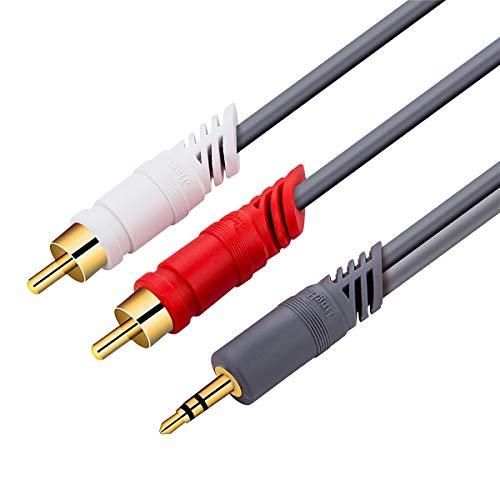 Conjuntos y componentes electrónicos DIY 3.5 mm a 2RCA Cable de Audio 3.5mm HiFi Stereo Jack RCA Cable AUX AUX Cable for TELÉFONOS MÓVILES COMPUTADORES AMPLIFICADORES Altaviadores Cable (Size : 3M)
