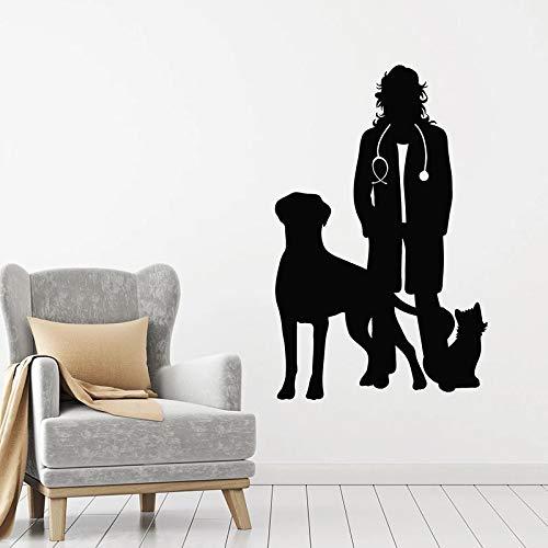 Veterinario perro gato pared calcomanía vinilo clínica veterinaria tienda de mascotas salón de belleza decoración