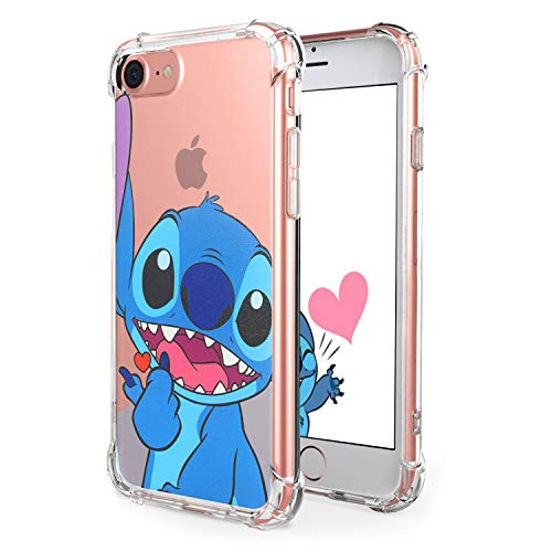 "Logee Sweet Stitch TPU Cute Cartoon Clear Case for iPhone 6/6S 4.7"",Fun Kawaii Animal Soft Protective Cover,Ultra-Thin Shockproof Funny Creative Character Chic Cases for Kids Teens Girls Boys(iPhone6"