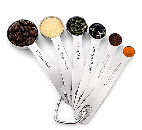 Mrt Pro Measuring Spoons Set of 6 Pieces, 18/8 Stainless Steel Measuring Spoon with D-RING Holder Measuring Dry and Liquid Ingredients (Stainless Steel)