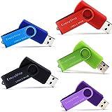 5 Piezas 64GB Memorias USB Pen Drive USB 64GB Unidad Flash USB 2.0 Almacenamiento de Datos Externo(Negro,Rojo,Azul,Púrpura,Verde